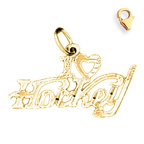 Jewels Obsession I Love Hockey Pendant   14K Yellow Gold I Love Hockey Charm Pendant - 16mm