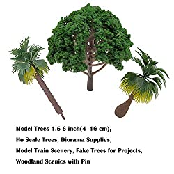Model Trees 1.4-6.3 inch(3.5 -16 cm), Ho Scale Trees, Diorama Supplies, Model Train Scenery, Fake Trees for Projects, Woodland Scenics Without Stands, Scenery Landscape from Pattyboth
