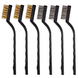 6Pcs Mini Wire Brush with Brass and Stainless for Cleaning Welding Slag and Rush (6PC)