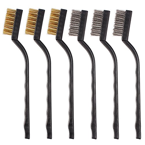 6Pcs Mini Wire Brush with Brass and Stainless for Cleaning Welding Slag and Rush (6PC) by HILDA