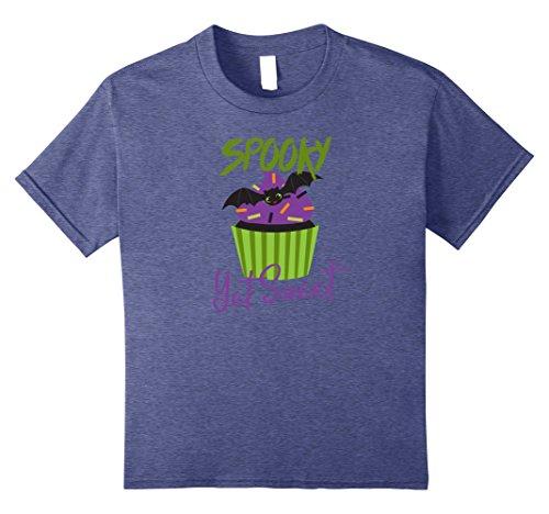 Sweet Cupcake Kids Costumes (Kids Spooky Yet Sweet Halloween Bat Cupcake T-Shirt 10 Heather Blue)