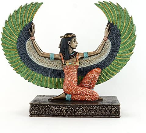Top Collection Decorative Kneeling Isis Statue – Hand Painted Egyptian Goddess of Life and Magic Sculpture with Colored Accents – Collectible Ancient Egypt Figurine Tall, Multi