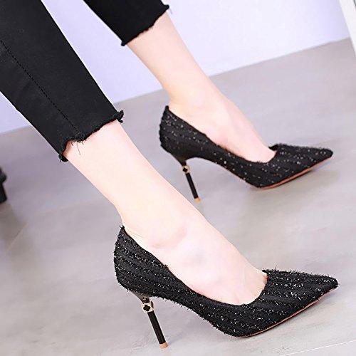 KHSKX-Zapatos De Tacon 9Cm Señaló Con Un Fino Superficial Boca Zapatos De Moda Sexy Korean Nueva Primavera Todos Coinciden Con Zapatos De Calle black