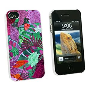 Graphics and More Tropical Rain Forest Magenta Purple Teal - Snap On Hard Protective Case for Apple iPhone 6 4.7 - White - Carrying Case - Non-Retail Packaging - White