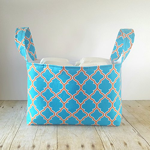 Fabric Storage Basket with Handles - Teal & - Easter Fabrics