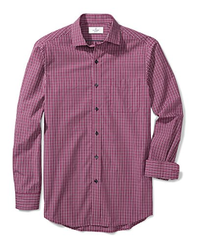 (BUTTONED DOWN Men's Classic Fit Supima Cotton Spread-Collar Pattern Non-Iron Dress Shirt, Burgundy Plaid, XL)
