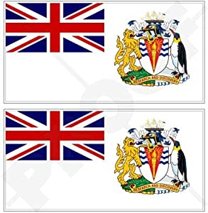"TERRITORIO ANTÁRTICO BRITÁNICO Bandera Reino Unido 4,3"" (110mm) Pegatinas de Vinilo Adhesivos, Sticker, Calcomanias x2"