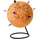 Gift Republic Colour Globe, Cork, Brown, 14 x 14 x 20.9 cm