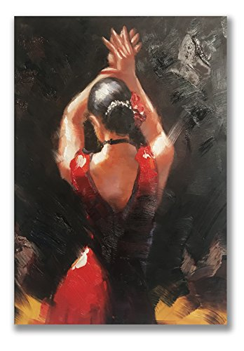 - Paimuni Dancing Lady Oil Paintings Hand Painted Attractive Woman Dancer in Red Dress Canvas Wall Art Ready to Hang Wall Decor (24x36 Inches)