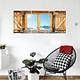 Liguo88 Custom canvas Shutters Decor Collection Weathered Facade of A Mountain Hut with Mountain Reflection in the Window Picture Bedroom Living Room Wall Hanging Beige Blue Teal