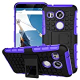 Nexus 5X Case,Google Nexus 5X Case,YiLin [Kickstand] Purple Armor Case [2 in 1 Rugged Hybrid] Hard/Soft Drop Impact Resistant Protective Case with Kickstand for Google Nexus 5X, Purple