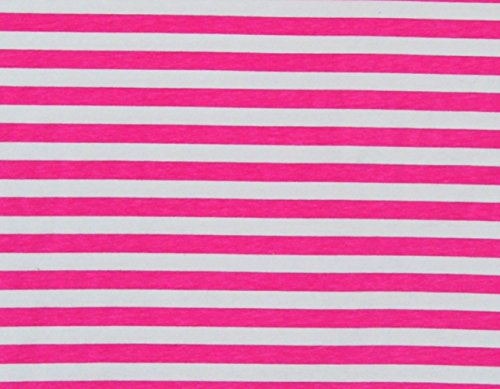Knit Pink princess Stripes 1/2 Inch Design Fabric By the Yard, 95% Cotton, 5% Lycra, 60 Inches Wide, Excellent Quality, 4 Way Stretch, medium weight (2 yards)