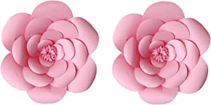 LG-Free 2pcs 16inch Paper Flower Backdrop Decoration Party Paper Flower Wedding Rose Flower Wall Backdrop DIY Paper Handmade Craft for Nursey,Baby Shower,Birthday,Home Decor (16inch, Pink)