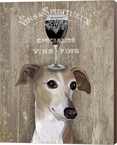 Dog Au Vin Greyhound by Fab Funky Canvas Art Wall Picture, Museum Wrapped with Nutmeg Sides, 24 x 30 inches