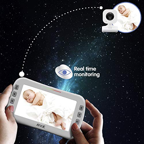 "Video Baby Monitor with Two Cameras and 4.3"" Screen by Axvue, Model E612, Multifunctions"