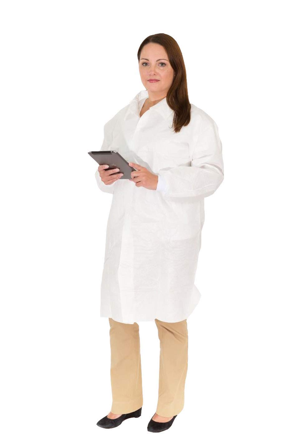 Body Filter 95+ Lightweight Disposable Lab Coats (No Pockets) | Breathable Cool Material -Extra Durable and Comfortable for Professional Laboratory + Medical Use (Case of 50) (Size: L)
