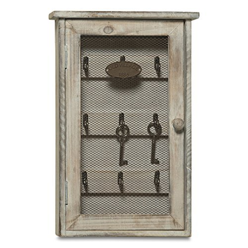 Whole House Worlds The Americana OLD VILLAGE 1886 Key Cabinet, Weathered White, Shabby Distressed Finish, Vintage Cabinet Wall Hanging Cupboard, 13 � inches, Sustainable Wood, ()