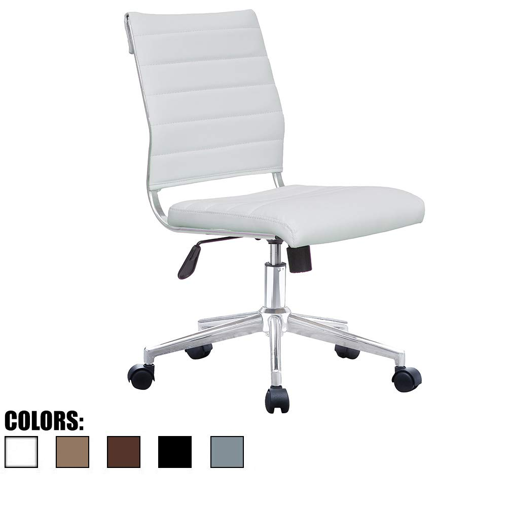 2xhome White Modern Ergonomic Executive Mid Back PU Leather No Arms Rest Tilt Adjustable Height Wheels Cushion Lumbar Support Swivel Office Chair Conference Room Home Task Desk Armless