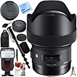 Sigma 14mm F1.8 DG HSM Art Wide Angle Full Frame Lens for Canon EF Mount Camera (450954) with USB Dock, Kodak Flash, And Deluxe Case Plus Accessories Bundle