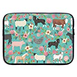Farm Animals Cow Sheep Goat Chick 13-15 Inch Laptop Sleeve Bag Portable Dual Zipper Case Cover Pouch Holder Pocket Tablet Bag,Water Resistant,Black