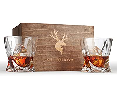 Twist Whiskey Glasses Set of 2 in Hand Crafted Wooden Box – Lead-Free Crystal Scotch, Whisky, Liquor and Bourbon Tumblers (10 oz) – Dishwasher Safe, Balanced and Elegant Gift Set For Men by Milburga
