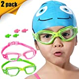 Kids Swim Goggles, 2 Pack Crystal Clear Swimming Goggles for Children Teenagers, Anti-Fog Anti-UV Youth Swimming Glasses, Leak Proof, Free Ear Plugs, One Button Open Straps 3-15 Y/O