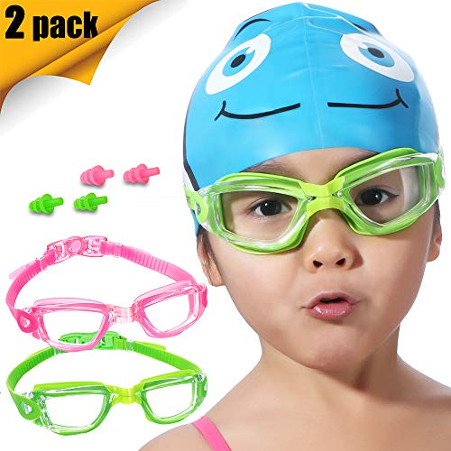 Kids Swim Goggles, 2 Pack Crystal Clear Swimming Goggles for Children and Teenagers, Anti-fog Anti-UV Youth Swimming Glasses, Leak proof, Free ear plugs, one button open straps, for 4-15 -