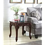 Roundhill Furniture OE0017BR Traditional Ornate Detailing Wood End Table, Dark Cherry