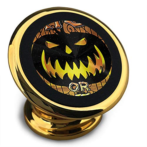 Trick Or Treat Halloween Pumpkin DIY Magnetic Phone Car Mount Holder for iPhone Handset 360 Rotation Noctilucent Function Yellow -