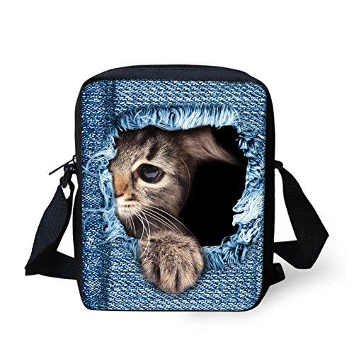 Shoulder Bag Cat Cat2 IDEA HUGS Dog Denim body Handbags Printed Small Cute Women Cross Mini Denim Rw7wxqFg