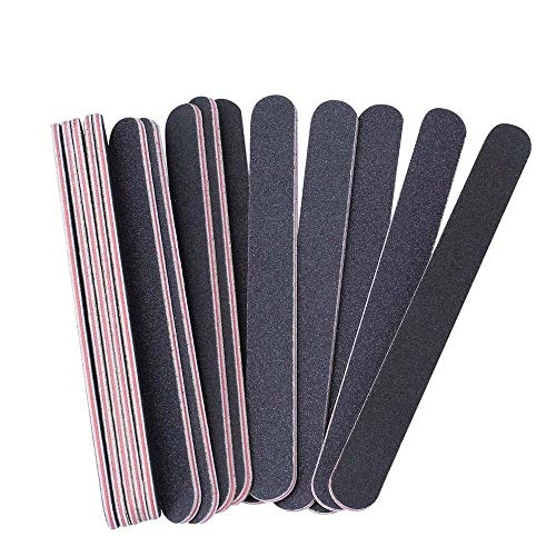 BTYMS 15Pcs Nail Files Double Sided Emery Board (100/180 Grit) - Nail Buffering Files for Home and Salon ()