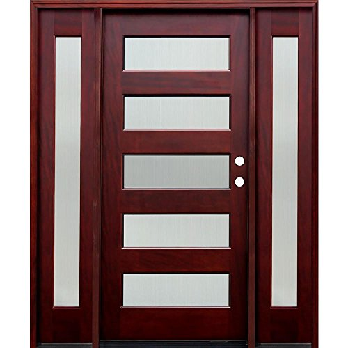 Contemporary 5 Lite Reed Stained Mahogany Wood Entry Door with 12 in. Sidelites