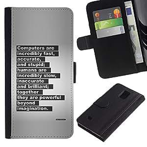 KLONGSHOP / Tirón de la caja Cartera de cuero con ranuras para tarjetas - Letter Quote Inspiring - Samsung Galaxy Note 4 SM-N910