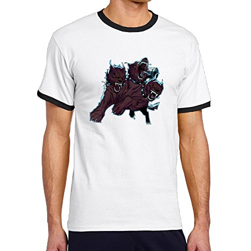 Oopp Jfhg A Three-Headed Fierce Wolf Crew Short Sleeve T-Shirt Hit Color Mens ()
