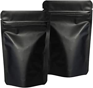 100 Pieces Smell Proof Bags - 4x6 Inches Odorless Mylar Bags Resealable Foil Pouch Bags Stand Up Airtight Ziplock Bag Bulk Food Storage Bag (Matte Black)