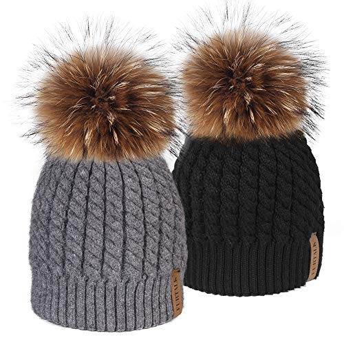 Winter Beanie Hats for Women FURTALK Womens Warm Knit Fur Bobble Pom Pom Hat (Best Acrylic Bathtub Brands)