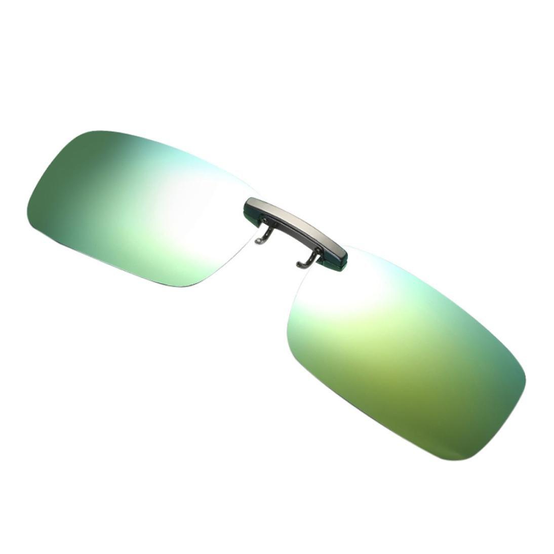 HOMEBABY Unisex Metal Polarized Clip On Glasses Sunglasses- Detachable Night Vision Lens Driving Vintage Sunglasses for Men Women Aviator Sun Glasses Sunglasses Blue)