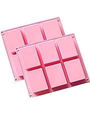 (2unidades) 6de la cavidad rectangular de silicona molde para Casera Artesanía jabón molde, molde de tarta, para galletas Chocolate molde cubito de hielo, bandeja