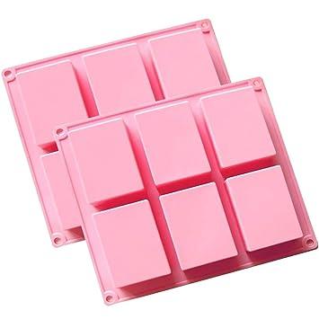 (2 unidades) 6 de la cavidad rectangular de silicona molde para Casera Artesanía jabón
