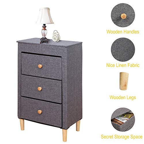 ITIDY 3-Drawer-Dresser,Premium Linen Fabric Nightstand,Bedside Table,End Table,Storage Drawer Chest for Nursery,Closet,Bedroom and Bathroom,Storage Drawer Unit,NO Tool REQURIED to Assemble, Gray ()