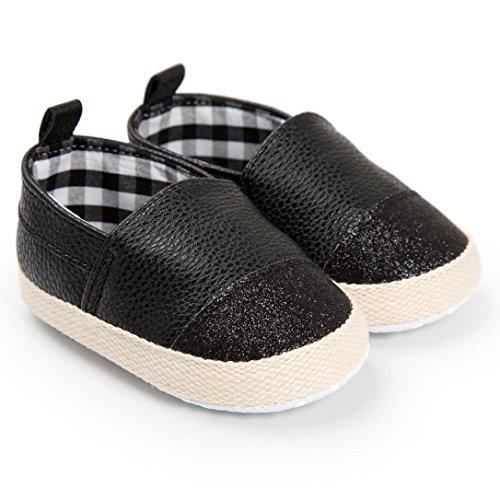 Huhu833 Baby Mädchen Jungen Schuh Casual Leder Schuhe Sneaker Anti-Rutsch Weiche Sohle Kleinkind Schwarz