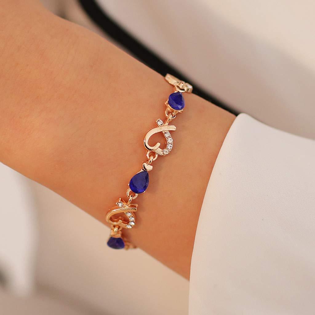 Aoukey Women Crystal Bracelet Bridal Love Bangle Fashion Adjustable Hand Chain Wedding Valentine\'s Day Jewelry