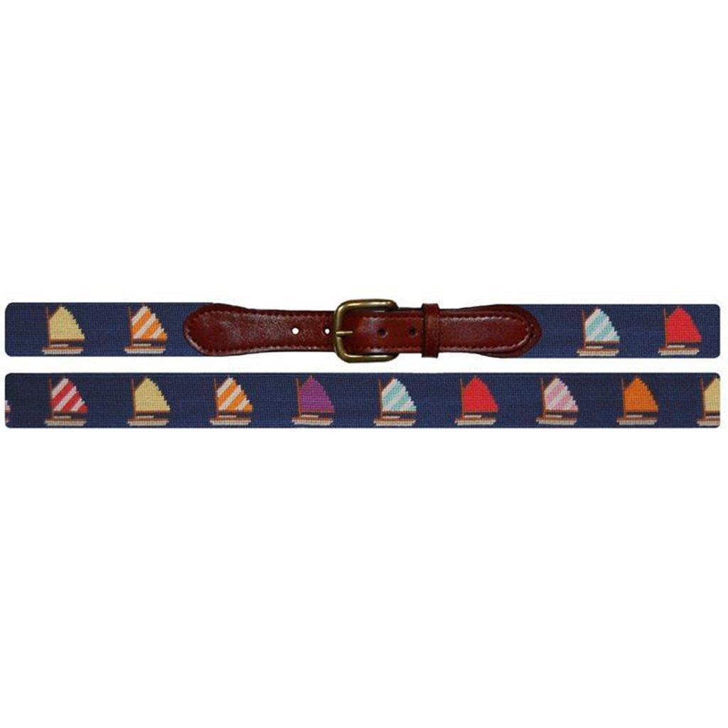 Rainbow Fleet Needlepoint Belt in Navy by Smathers /& Branson