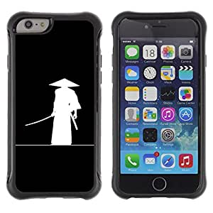 Jordan Colourful Shop@ Chinese Ancient Warrior Hat Black White Art Rugged hybrid Protection Impact Case Cover For iPhone 6 Plus CASE Cover ,iphone 6 5.5 case,iPhone 6 Plus cover ,Cases for iPhone 6 Plus 5.5
