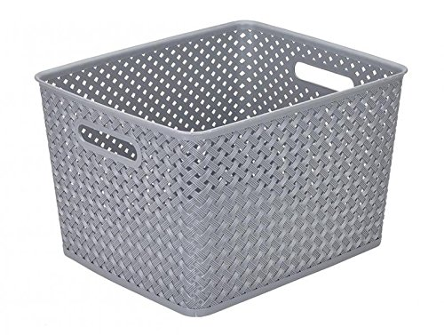 Simplify's Large Resin Wicker Storage Bin in Grey by Simplify