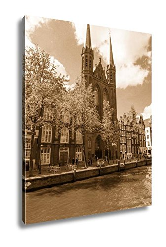 Ashley Canvas Krijtberg Kerk Roman Catholic Church At The Singel Canal Amsterdam Netherlands, Kitchen Bedroom Living Room Art, Sepia 30x24, AG5677921 by Ashley Canvas