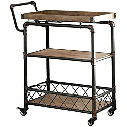 HOMES: Inside + Out IDF-AC6847 Deon Serving Cart Antique Black Industrial