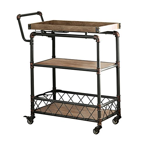 HOMES: Inside + Out IDF-AC6847 Antique Black Deon Industrial Serving Cart
