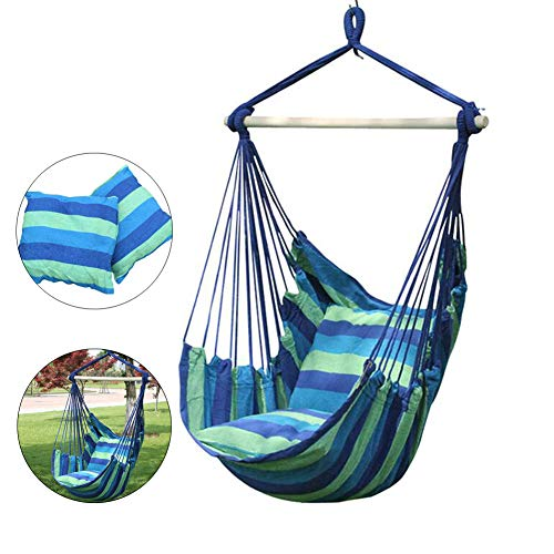 Hanging Rope Hammock Chair, Hanging Chair Swing seat for Indoor Outdoor 265 lbs Weight Capacity 2 Seat Cushions Included (Blackwell Hanging)