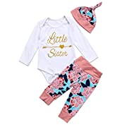 Newborn Girls Clothes Baby Romper Outfit Pants Set Long Sleeve Winter Clothing (0-6Months, Little Sister)